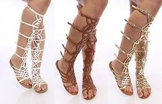 Breckelle's SOLO 16 Strappy Gladiator Flat  Sandals Shoes Gold Tan White