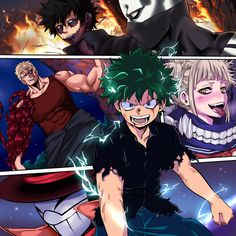 Boku no Hero Academia    Dabi    Jin Bubaigawara/Twice    Muscular    Mr. Compress/Atsuhiro Sako    Midoriya Izuku    Himiko Toga
