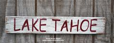 Welcome and I'm glad you stopped by!  Welcome To Our Lake House, Lake Decor Sign - Hand Painted Wood Sign - Family Name - Personalized Signs    A sign for the special place at the lake!  This one is Lake Tahoe but you can choose any you would like and let me know.     In my shop you will find hand painted wood signs with great care and love.  Signs are made with recycled wood and painted on all sides and back.  A hanger will be attached to the back.  Please let me know if you need any help…