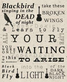 Blackbird Singing in the Dead of Night, Blackbird Print, Beatles Song Lyrics, Subway Art, Home Decor Beatles Poster, Beatles Art, Beatles Songs, The Beatles, New Quotes, Lyric Quotes, Funny Quotes, Song Lyrics Art, Lyric Art