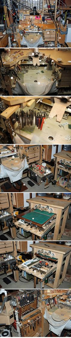 "Tool organization in a small space: ""A Jeweler's Bench by John de Rosier https://www.behance.net/gallery/Change-Innovation-and-Modification-A-Jewelers-Bench/8002279"""