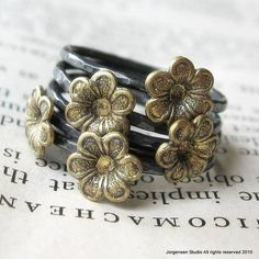 Flower Stack Set of Five Rings Sterling and by jorgensenstudio, $52.00