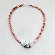 Natural marble and rope necklace