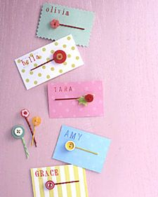 Easy party favor for girls- hair pins with name on the card