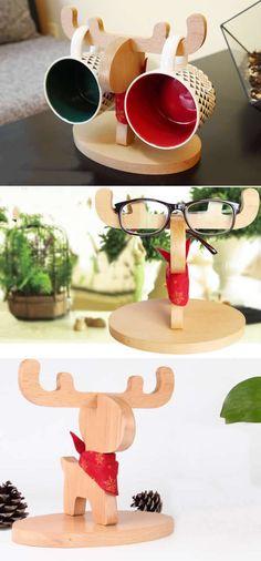 Wooden Muntjacs Eyeglass Sunglasses Display Stand Holder Mug Holder