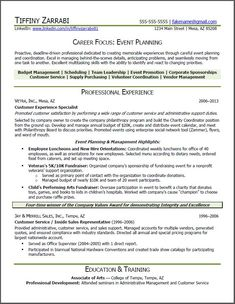 Career Planning Resume event planner resume  Event Planner Resume: Career transition