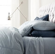 Vintage-Washed Chambray Sheet Set from Restoration Hardware.  Mine are in 'Fog'...  These sheets feel sinful :)