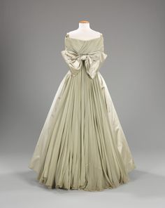 """""""Negligeé"""" Ball Gown, Alberto Fabiani (Italian, born ca. 1910): ca. 1958, Italian, silk. """"The ball gown featured here is a wonderful example of his work as well as an accurate representation of the full skirt, popular during the 1950s. Refined in every way, this is a stunning piece, perfect for an elaborate entrance."""""""