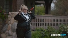 Check out Rebel Wilson's nunchucking prowess on her Booking.com road trip. Hi-Yah! #BookingYeah