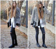 Oasap Fur Coat, H&M White Shirt, Denim&Co Jeans, George Fluffy Cardigan, Choies Clutch, Topshop Boots