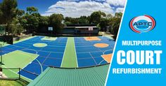 Multipurpose court refurbishment for Somers Primary School, Victoria. Styrol-acrylic resin based coloured coating for multi-purpose flooring on asphalt bed. Refurbishment, Primary School, Tired, Melbourne, Australia, Business, Sports, Projects, Restoration