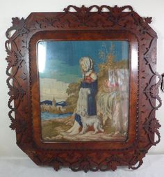 Antique 19th Century Victorian Woman w Dog Needlepoint Tapestry Mahogany Frame | eBay