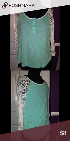 Rue 21 Mint Green Lace Sleeve Shirt Mint Green Lace Sleeve shirt with buttons from Rue 21. Only worn once. Excellent condition. Rue21 Tops Tees - Long Sleeve