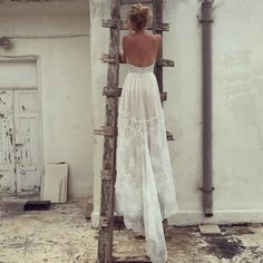 boho chic long train lace wedding gown | chic | romantic | beaded | www.flora-bride.com