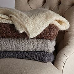Hand-Knit Mohair Throws f