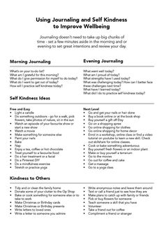 Using Journaling and Self Kindness to Improve Wellbeing. Morning journaling ideas and evening journaling ideas to promote self connection. Nota Personal, Journal Writing Prompts, Journal Prompts For Teens, Bullet Journal Prompts, Daily Bullet Journal, Self Care Bullet Journal, Journal Questions, Therapy Journal, Self Care Activities