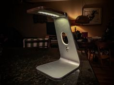 Lamp made from recycled Apple computer stand