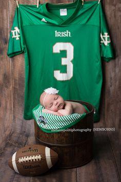 www.stefaniepolitiphotography.com, newborn photography, newborn photographer, NJ newborn photographer, Hunterdon County newborn photographer, newborn baby girl, Notre Dame, football