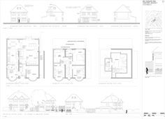 Planning application drawing showing street scene, elevations and floor plans. Planning Applications, House Plans, Floor Plans, Loft, Scene, Flooring, How To Plan, Drawing, Street