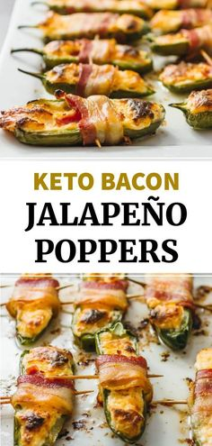 These homemade oven baked jalapeno poppers are wrapped in bacon and stuffed with a cream cheese and cheddar filling -- only 5 ingredients. This is an easy and healthy recipe that is low carb and keto. One of the best simple appetizers, no frying needed.