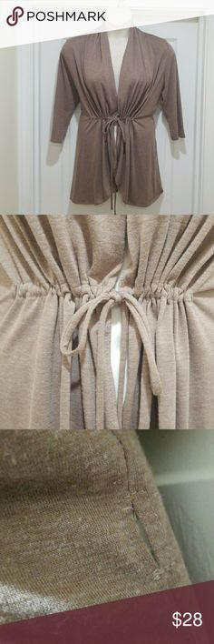 Kiyonna Bellini Cardigan Beige/tan color,  gently used,  can tie the front for an open look or run the tie through the side for a wrap top, a little pilling but otherwise great condition Kiyonna Sweaters Cardigans