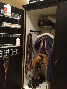Custom Tack Locker - like the trays and hooks on the door and storage above the saddles.