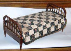 Vintage Dollhouse Miniature Jenny Lind Bed Bedding Walnut Wood Artist Signed | eBay: I definitely want a Jenny Lind bed for my dollhouse!