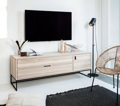 WOOOD Silas TV Unit has a modern look and offers a stylish place for your television. The Silas TV furniture is made of brushed ash wood. Tv Unit Design, Küchen Design, Living Room Tv Unit, Transforming Furniture, Tv Furniture, Lounge, Scandinavian Home, Tv Cabinets, Sydney