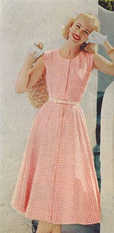 1956 Pink and White Gingham Dress by Alfred Green