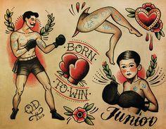 Thème de boxe Tattoo Flash Design