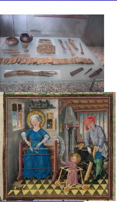 """This second illustration clearly shows the bobbin and a leaf-  shaped beater. """"  The Holy Family at work  """"  , The Hours of Catherine of Cleves (PML M.917, fol. 149), c. 1440"""