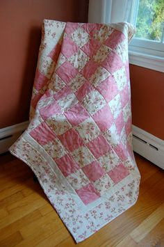 Baby Girl Quilt Rosebud in Pink Hand by chimeracustomquilts, $139.00
