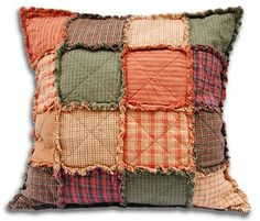 Sewing Pillows Use the GO! Rag Square 5 Die to cut Homespun fabrics in Fall Colors, then just cover an old throw pillow. Patchwork Pillow, Quilted Pillow, Crochet Pillow, Quilting Tips, Quilting Projects, Fall Sewing Projects, Rideaux Boho, Cushions To Make, Couch Cushions