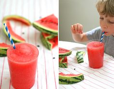 Frozen Watermelon slush = healthyIce Cream that Kids actually want to eat. Or, so I hope.