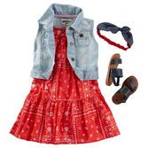 She'll steal the show in a tiered bandana dress and denim vest. Pair with strappy sandals and a knot headwrap for extra style.