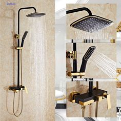Dofaso Full Copper Bathroom Shower Faucets Systems Luxury White And Golden Rain Shower Panel Nozzle Sets Gold Shower Taps Back To Search Resultshome Improvement