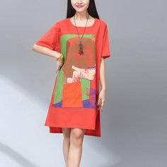 Cheap dress code dresses, Buy Quality dress up girls dresses directly from China dress pvc Suppliers: Plus Size Loose Summer Dress Short Sleeve 2016 New Fashion Dresses Landscape Print Cotton Linen Dress Women Vestidos Muj