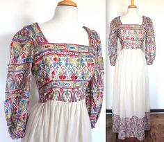 Vintage 1960's Dress // 60s 70s Rainbow Embroidered Linen Peasant Dress // Boho Hippie Summer Gown // Maxi Dress by TrueValueVintage on Etsy