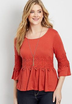 crocheted bell sleeve blouse | maurices
