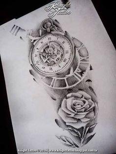 Resultado de imagem para tatuagem relogio