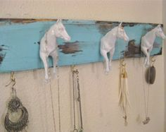 White turquoise horse jewelry hanger holder organizer on wooden backdrop jewelry organizer jewelry rack jewelry display