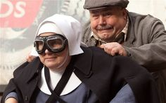 Sister Evangelina and Fred from Call the Midwife. I laughed too hard at this scene!