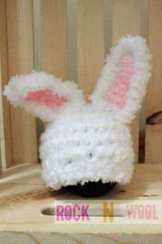 Fuzzy o3month Easter Bunny Beanie Purple or White by RockNWool, $16.00
