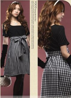 Summer Korean Style Sweet Cute Plaid Patchwork butterfly Knot Knee Length Dress For Women 2013 New Arrival176-in Dresses from Apparel & Accessories on Aliexpress.com