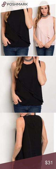 "‼️CLEARANCE‼️Black Ruffle Sleeveless Top Black Ruffle Sleeveless Top. 100% polyester. Featuring a round neckline. Layered Chiffon. Measurements for small Length 23"" Bust 38"". Available in blush pink in my closet Lulupie Tops"