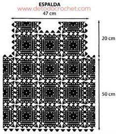 como tejer un chaleco con cuadros crochet Crochet Jacket Pattern, Crochet Coat, Crochet Fabric, Crochet Cardigan, Thread Crochet, Crochet Motif, Crochet Patterns, Crochet Symbols, Fillet Crochet