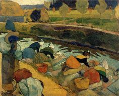 Paul Gauguin - washerwomen at roubine du roi 1888  --Wonderful painting.  You knew how to paint, but you didn't know how to treat women. Too bad.-sb