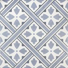 Mr Jones Azure Blue Pattern Wall and Floor Tile - Tiles from Tile Mountain Bathroom Floor Tiles, Wall And Floor Tiles, Kitchen Tile, Wall Tile, Bathroom Wall, Modern Bathroom, Laura Ashley Mr Jones, Minton Tiles, Garden Tiles
