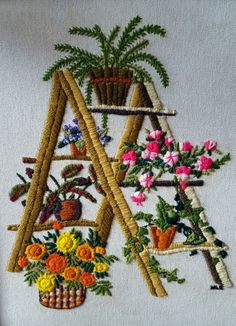 Vintage Pair of Crewel, Framed Embroidery, Yarn Art, Plants and Flowers, Ladder… Hand Embroidery Dress, Embroidery Flowers Pattern, Simple Embroidery, Hand Embroidery Designs, Vintage Embroidery, Floral Embroidery, Cross Stitch Embroidery, Brazilian Embroidery, Christmas Embroidery