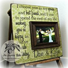 Valentines Day Personalized Picture Frame Custom Wedding Gift 16x16 Vows Anniversary Love Father Mother Parents Quote Song Valentines. $75.00, via Etsy.